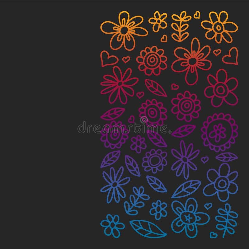 Вектор установил значков цветков ребенка рисуя в стиле doodle Покрашенный, красочный, изображения градиента на куске бумаги на кл иллюстрация вектора
