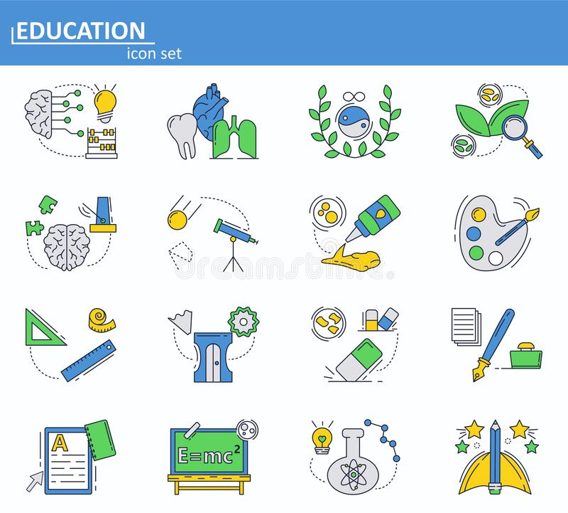Вектор установил значков школы и образования в объеме колледжа в тонкой линии стиле Вебсайт UI и мобильный значок приложения сети иллюстрация штока