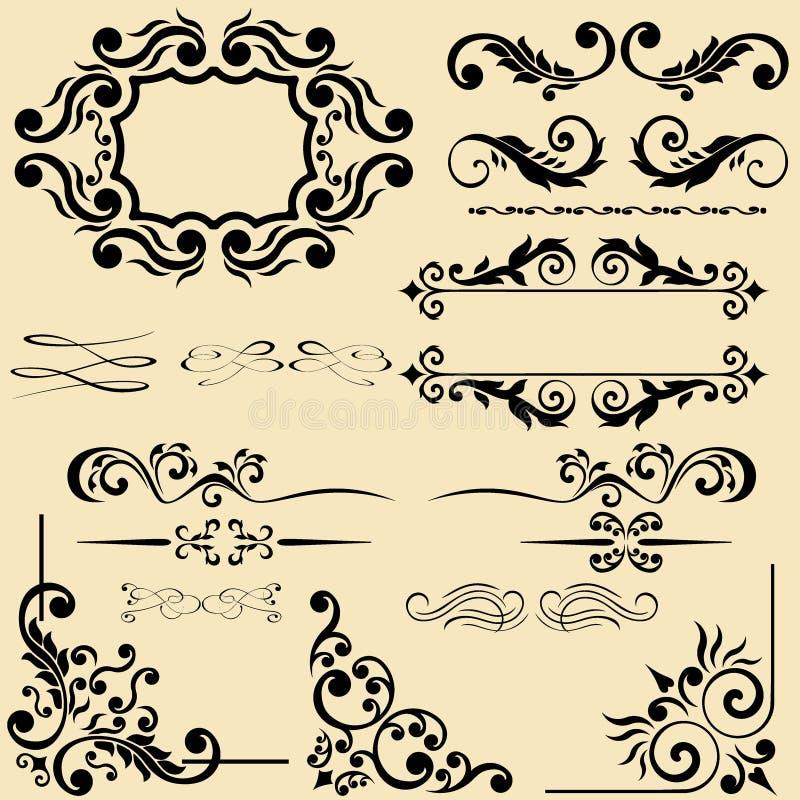 Вектор установил каллиграфических элементов дизайна и флористических рамок бесплатная иллюстрация