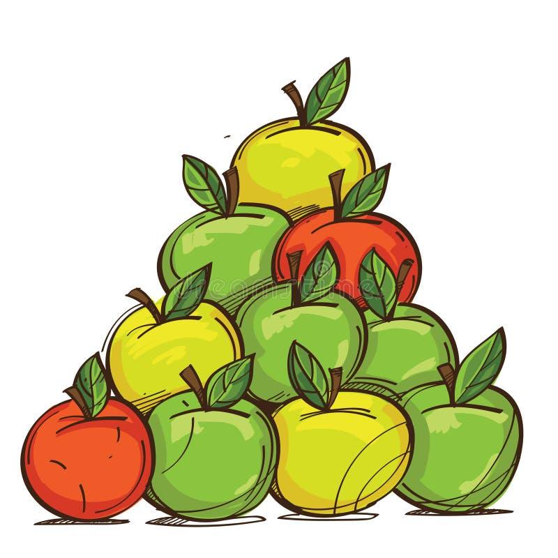 Вектор установил красных, желтых и зеленых яблок изолированных на белой предпосылке иллюстрация вектора
