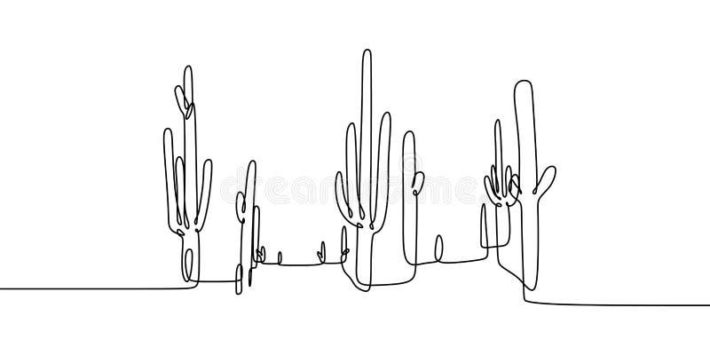 Вектор установил линии заводов милого кактуса непрерывной одной дома эскиза чертежа черно-белых изолированный на белой предпосылк иллюстрация штока