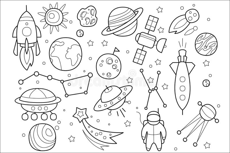 Вектор установил объектов космоса руки вычерченных Летающие тарелки чужеземцев, космического корабля, ракеты, астронавта, космиче бесплатная иллюстрация
