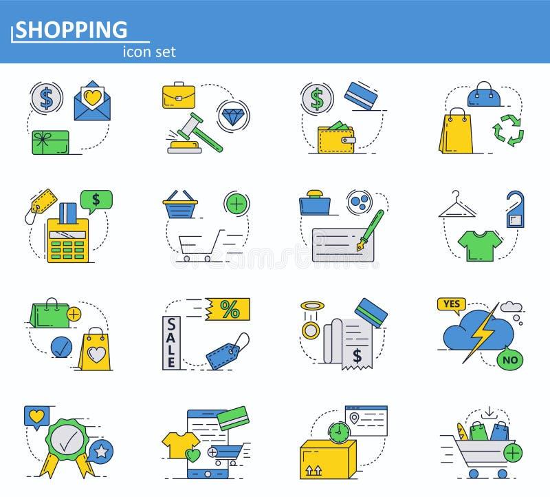 Вектор установил онлайн покупок и цифровых значков оплат в тонкой линии стиле Вебсайт UI и мобильный значок приложения сети план бесплатная иллюстрация