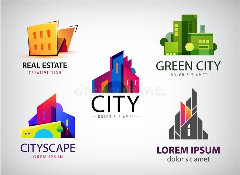 Вектор установил пестротканых дизайнов логотипа недвижимости для идентичности дела визуальной, здания, значков городского пейзажа иллюстрация штока