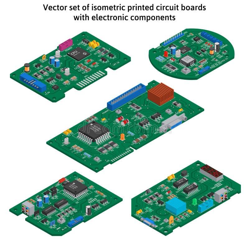 Вектор установил равновеликих плат с печатным монтажом стоковые изображения rf