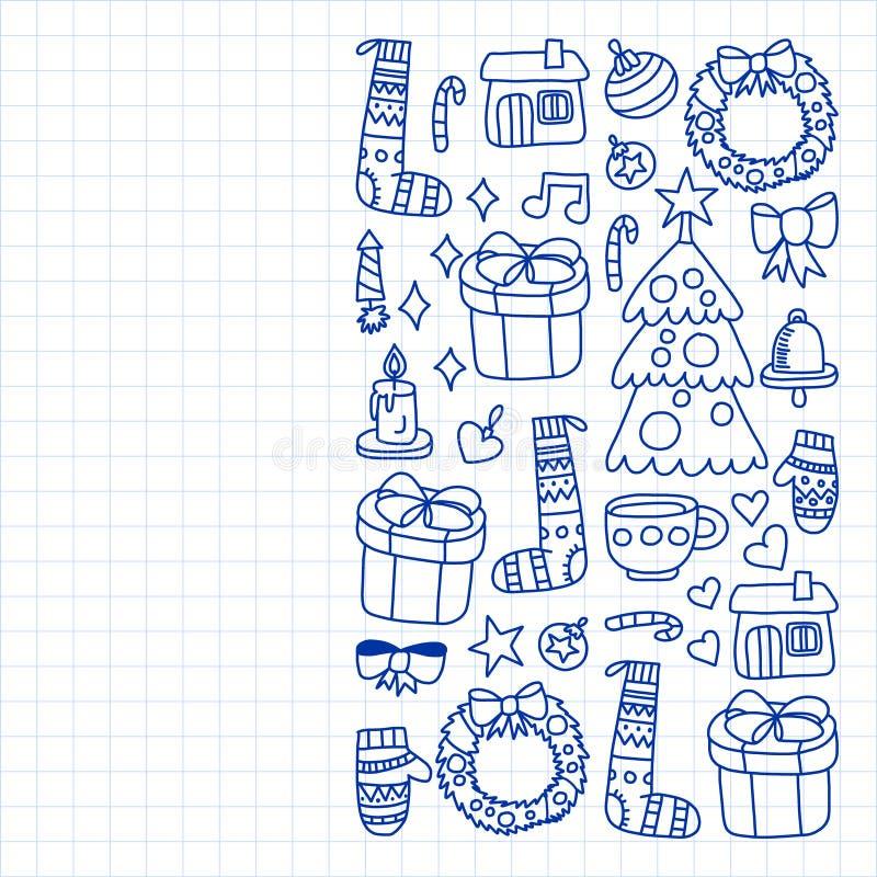 Вектор установил рождества, значков праздника в стиле doodle Покрашенный, нарисованный с ручкой, на листе checkered бумаги на бел бесплатная иллюстрация