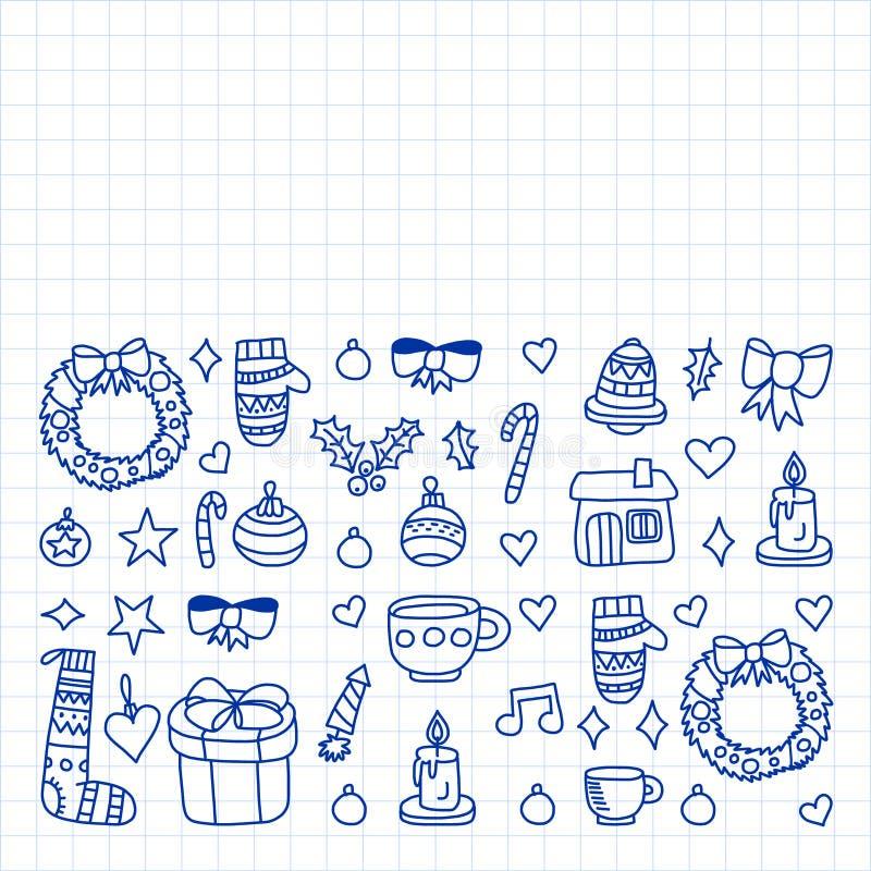Вектор установил рождества, значков праздника в стиле doodle Покрашенный, нарисованный с ручкой, на листе checkered бумаги на бел иллюстрация штока