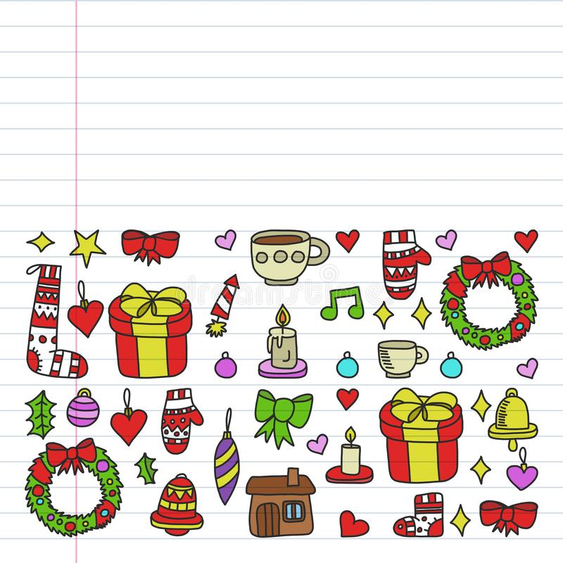 Вектор установил рождества, значков праздника в стиле doodle o бесплатная иллюстрация