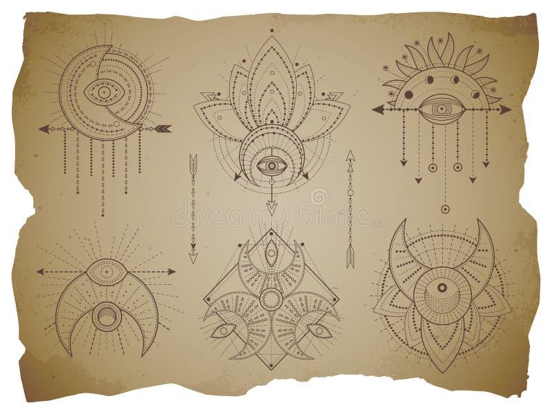 Вектор установил священных геометрических символов и полумесяца на старой бумажной предпосылке с сорванными краями Абстрактное ми иллюстрация вектора