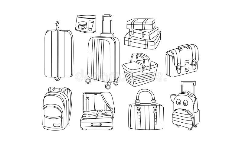 Вектор установил сумок и багажа руки вычерченных Участвует в пикнике корзина, крышка для одежд, чемодан, рюкзаки перемещения, пор бесплатная иллюстрация