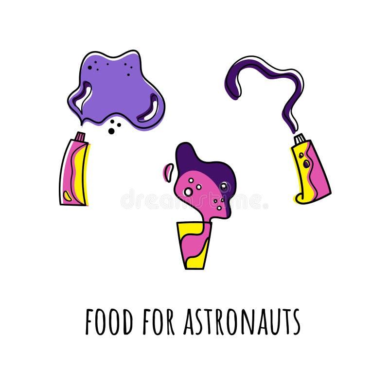 Вектор установил с космической пищей Doodle тип Покрашенные изоляты бесплатная иллюстрация