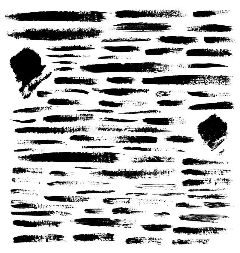 Вектор установил щеток Элементы дизайна Grunge Грязные знамена текстуры Splatter чернил Grungy вычерченные объекты для вашего диз иллюстрация вектора