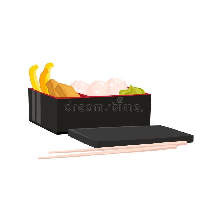Вектор установил японской коробки бенто изолированной на белизне Традиционная азиатская еда бесплатная иллюстрация