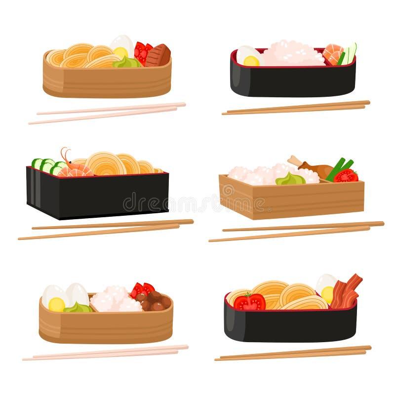 Вектор установил японской коробки бенто изолированной на белизне Традиционная азиатская еда иллюстрация штока