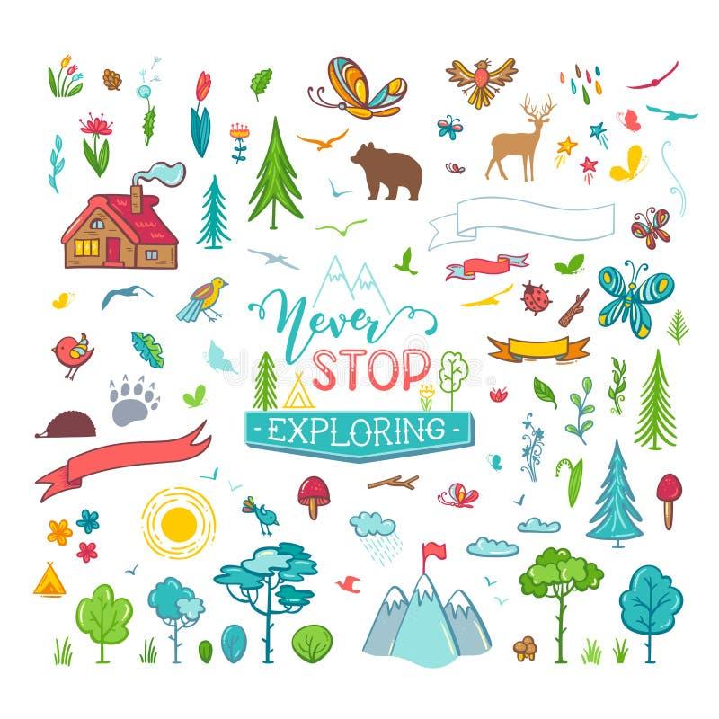 Вектор установил doodles природы бесплатная иллюстрация