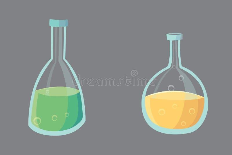Вектор установил - оборудование эксперименту по лаборатории химии дизайна химического испытания плоское иллюстрация штока