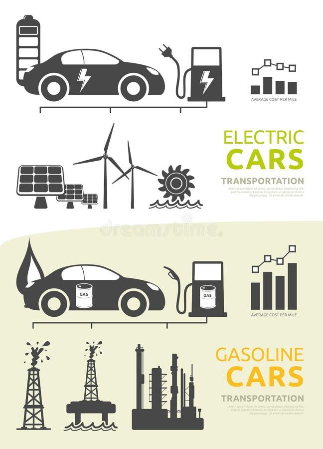 Вектор установил для автомобилей электрических и бензина приведенных в действие иллюстрация вектора