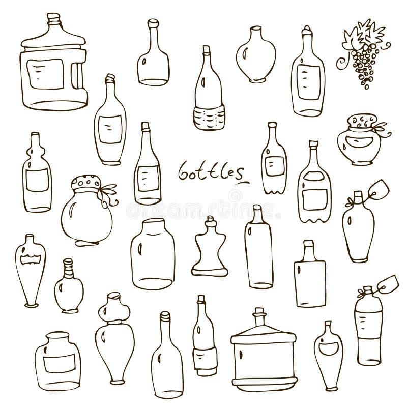 вектор установленный бутылками иллюстрация штока