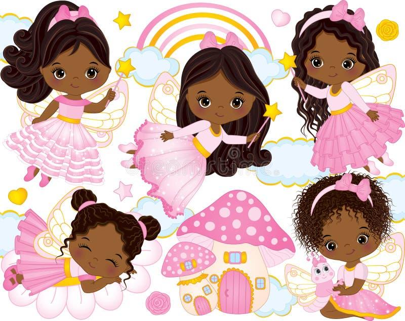 Вектор установленный с милыми маленькими Афро-американскими феями и элементами природы