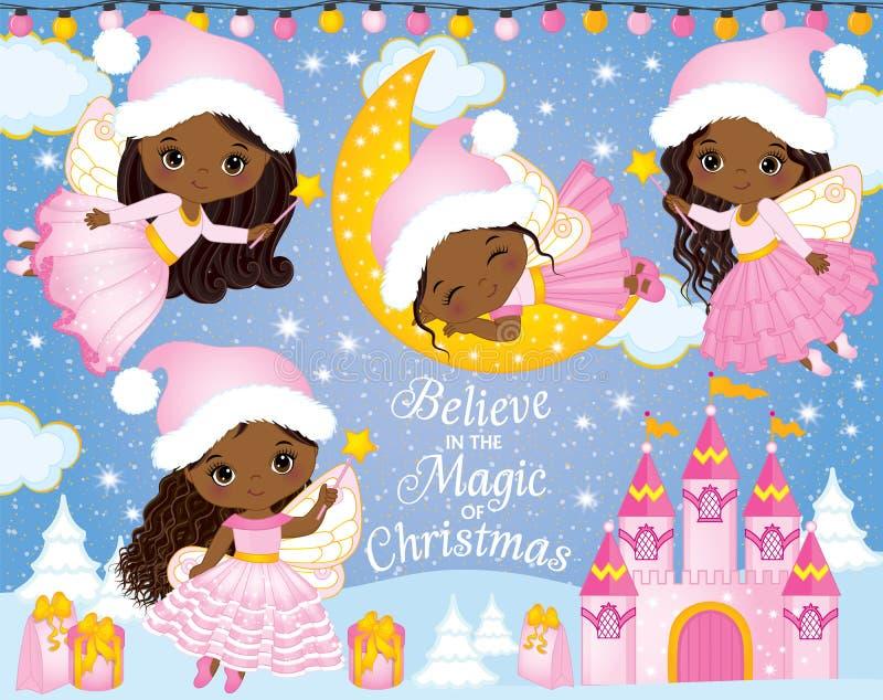 Вектор установленный с милыми маленькими феями рождества, замком и элементами зимы иллюстрация штока