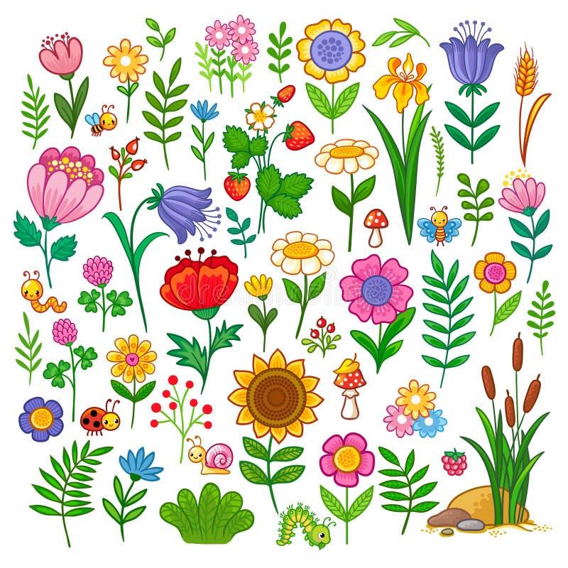 Вектор установленный с цветками иллюстрация штока