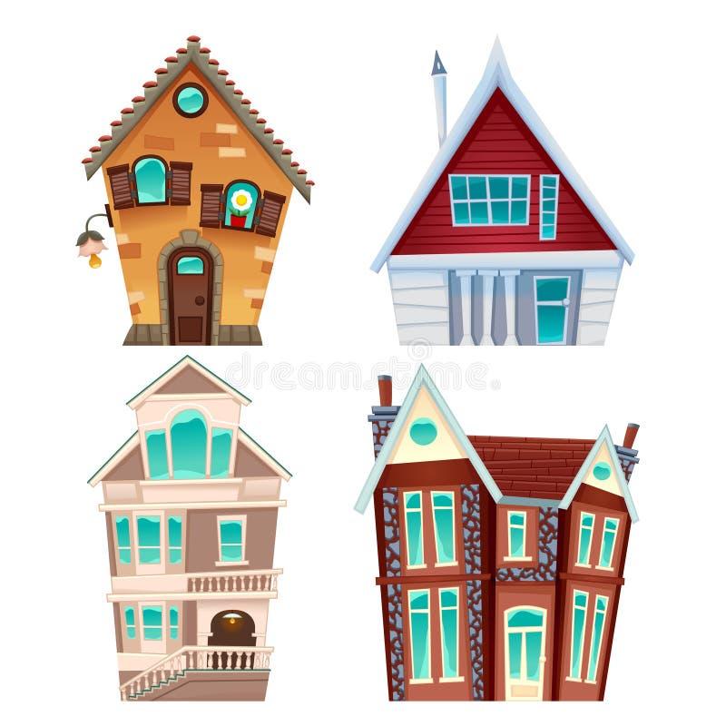 вектор установленный домами иллюстрация штока