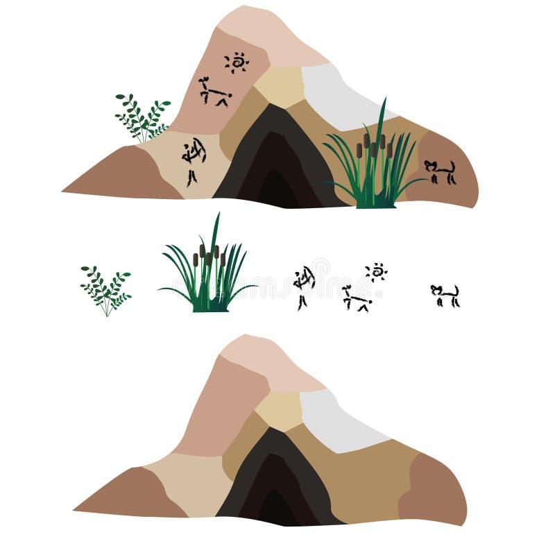 Вектор установленный о примитиве каменного века иллюстрация вектора