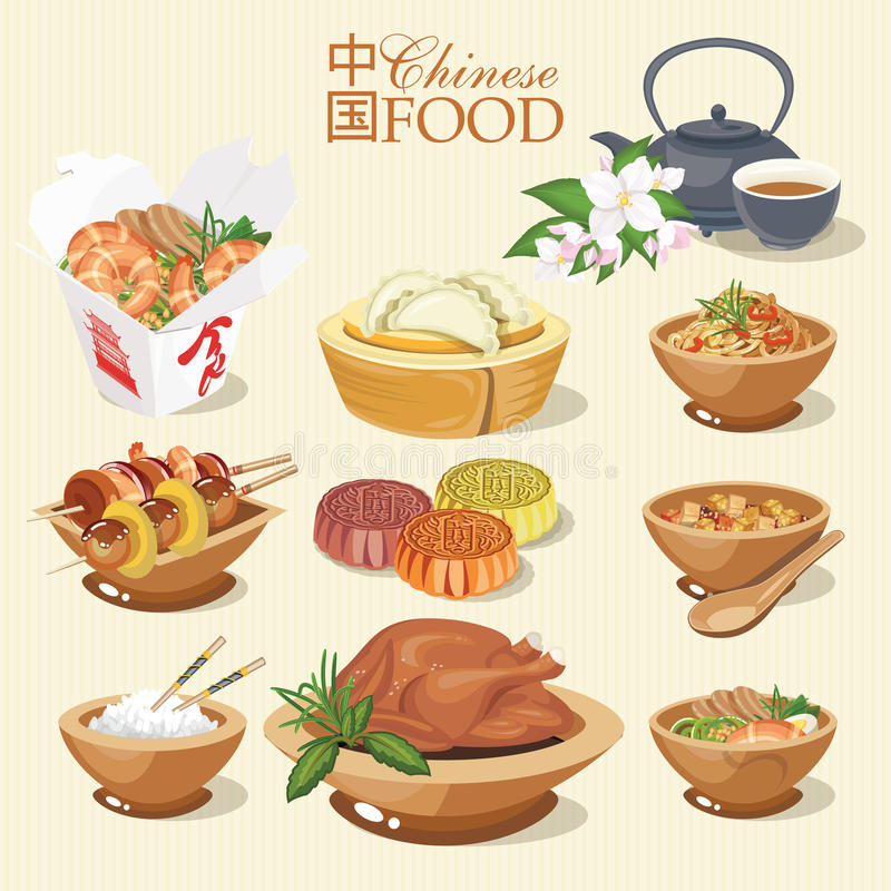 Вектор установленный с китайской едой Китайская улица, ресторан или домодельные иллюстрации еды для этнического азиатского меню иллюстрация штока