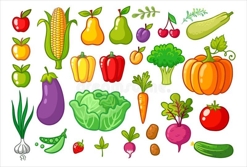 Вектор установленный с овощами бесплатная иллюстрация