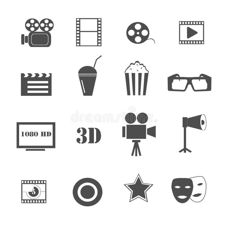 Вектор фильма и кино установленный значками иллюстрация вектора