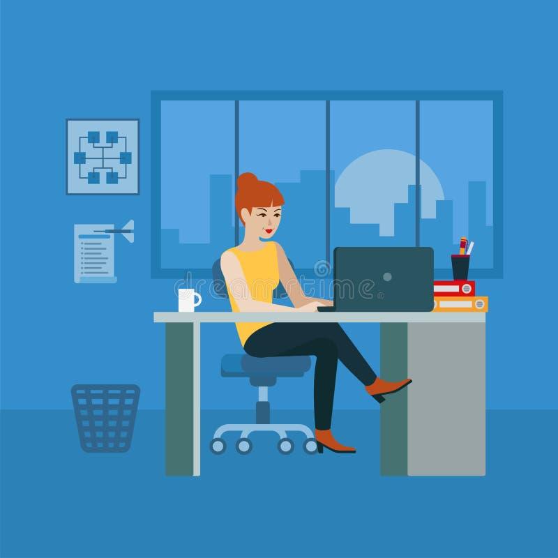Вектор финансового аналитического рабочего места офиса бухгалтера плоский иллюстрация вектора
