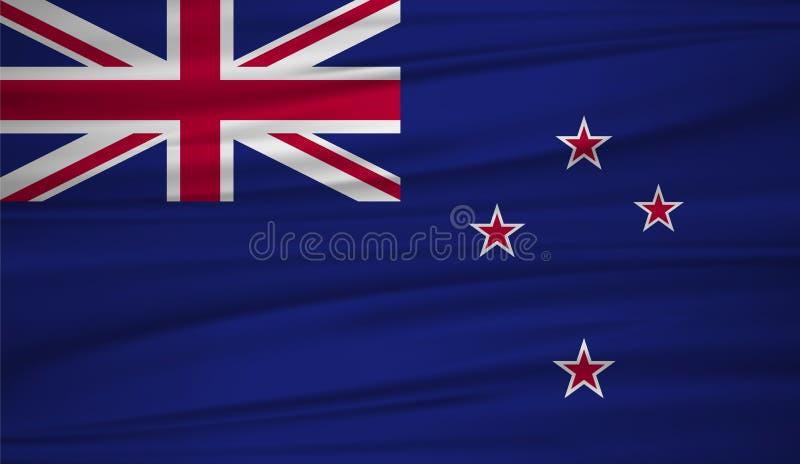 Вектор флага Новой Зеландии Vector флаг blowig Новой Зеландии в ветре иллюстрация вектора