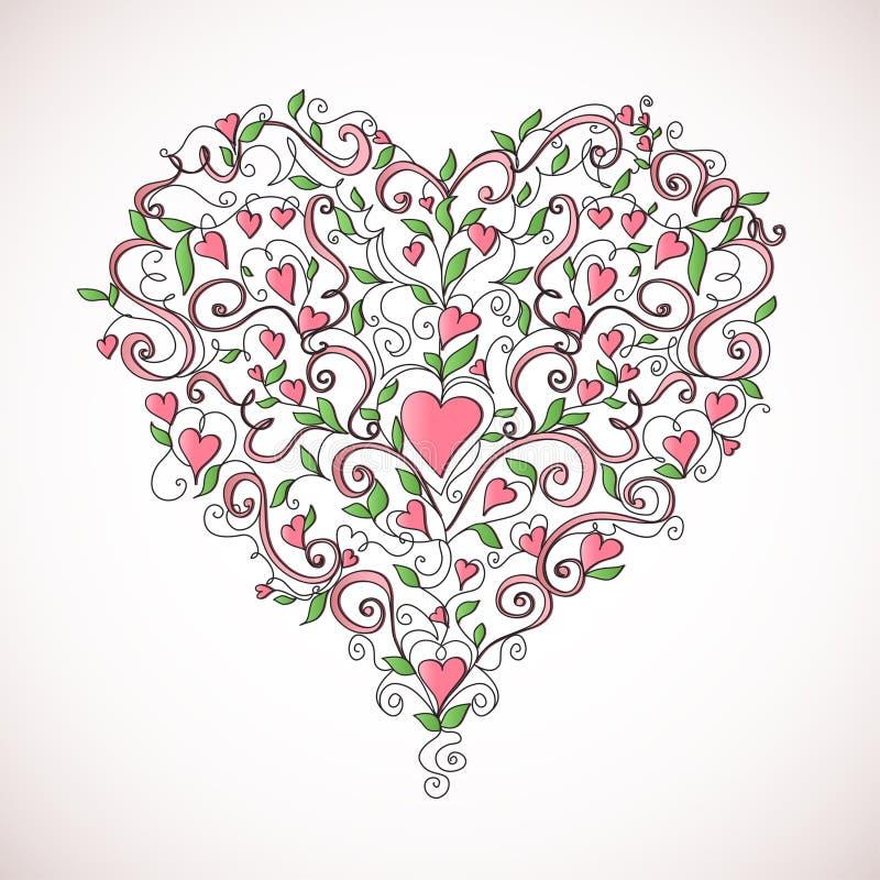 вектор флористического орнамента иллюстрации сердца форменный иллюстрация штока