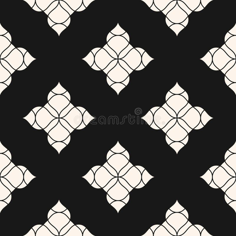 вектор флористической картины безшовный Черно-белая абстрактная геометрическая предпосылка иллюстрация вектора