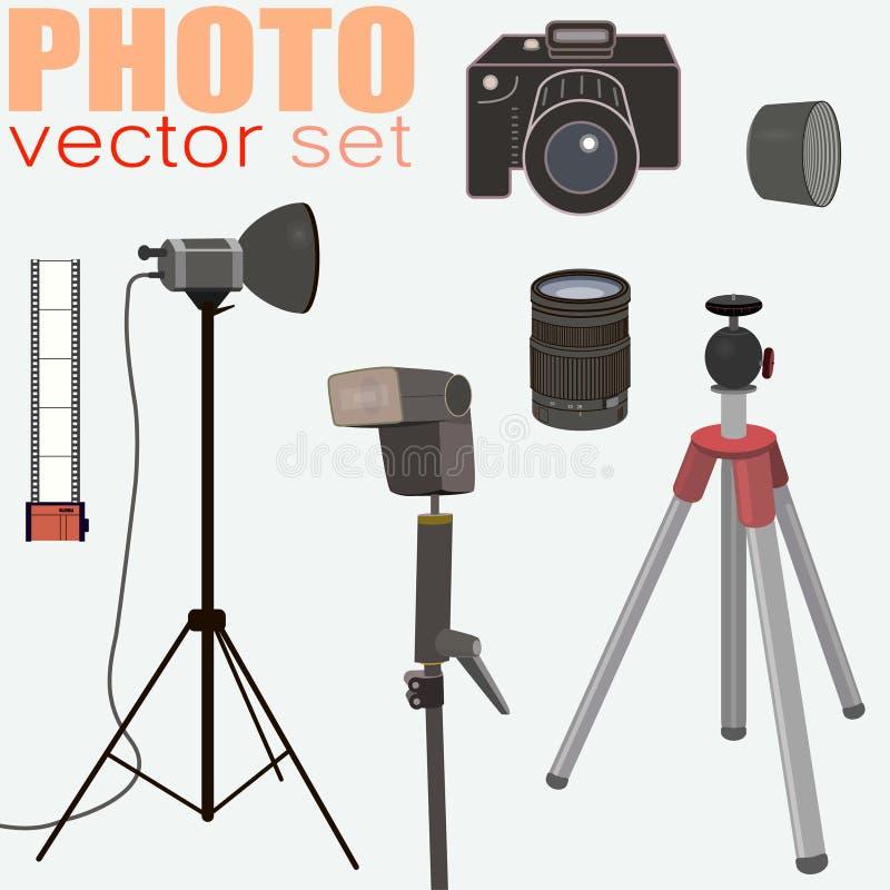 Вектор фотографии установил - собрание оборудования фото бесплатная иллюстрация