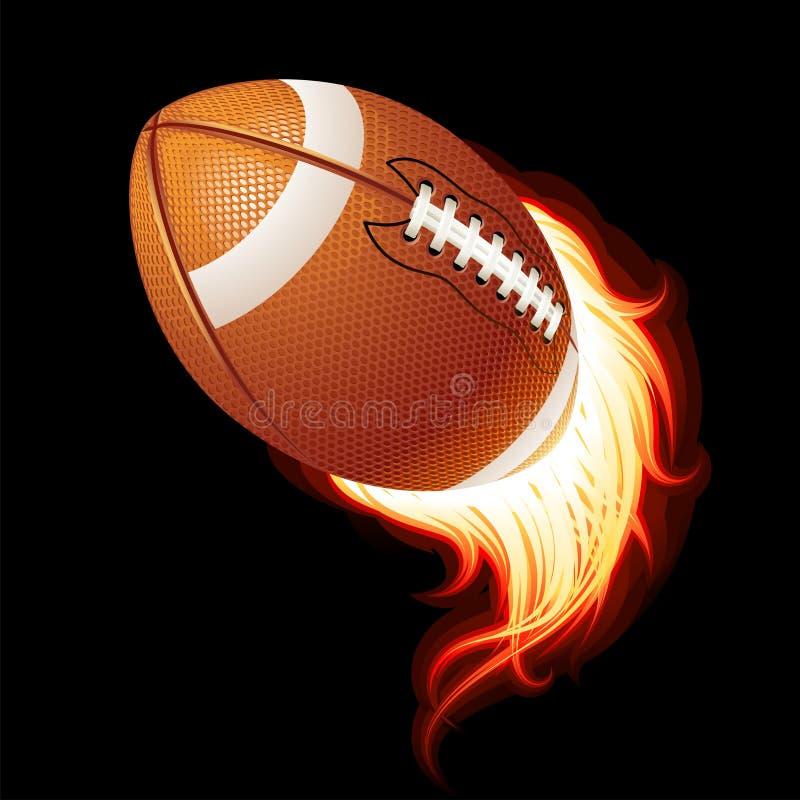 вектор футбола летания американского шарика пламенеющий иллюстрация вектора