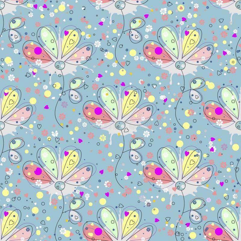 вектор флористической картины безшовный Вычерченная декоративная предпосылка с цветками, листьями и декоративными элементами иллюстрация штока