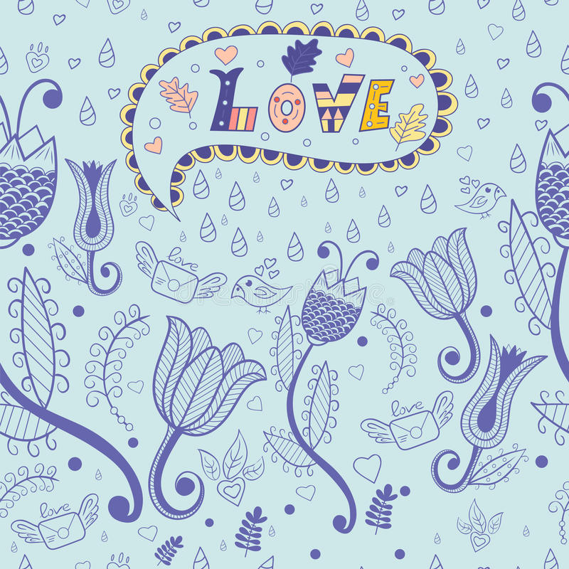 вектор флористической картины безшовный Любовь иллюстрация штока
