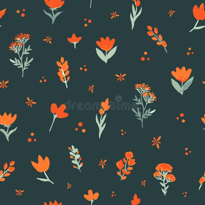 вектор флористической картины безшовный Оранжевые wildflowers на темной предпосылке Элегантный шаблон для печатей моды бесплатная иллюстрация