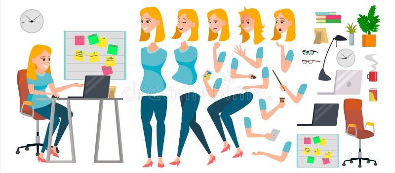 Вектор характера бизнес-леди Работая женский босс девушки Начните вверх офис Разработчик девушки Комплект анимации привлекательно иллюстрация вектора