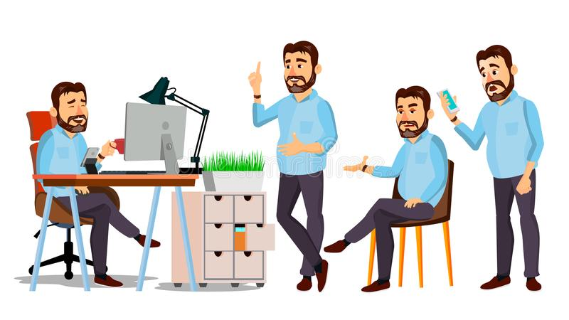 Вектор характера босса Деловая компания запуска ИТ Шаблон тела для дизайна Различные представления, ситуации шарж иллюстрация вектора