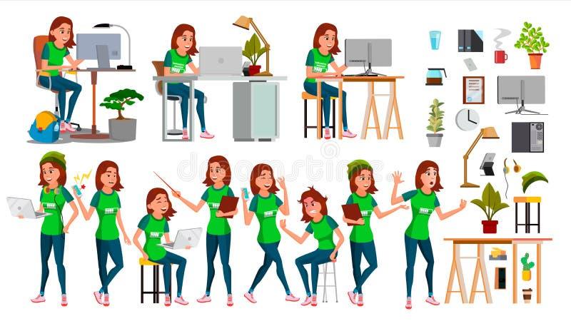 Вектор характера молодой бизнес-леди установленный В действии Деловая компания запуска ИТ Процесс окружающей среды teen шарж иллюстрация вектора