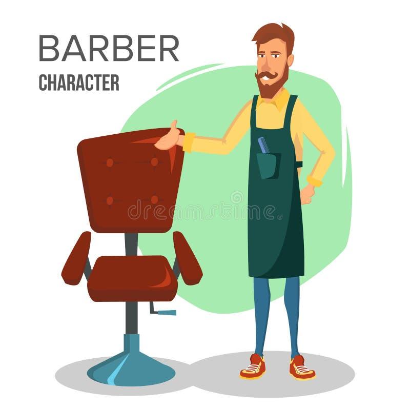 Вектор характера парикмахера шаржа Классическое кресло для отдыха Счастливый профессиональный парикмахер стоя на рабочем месте ша иллюстрация штока