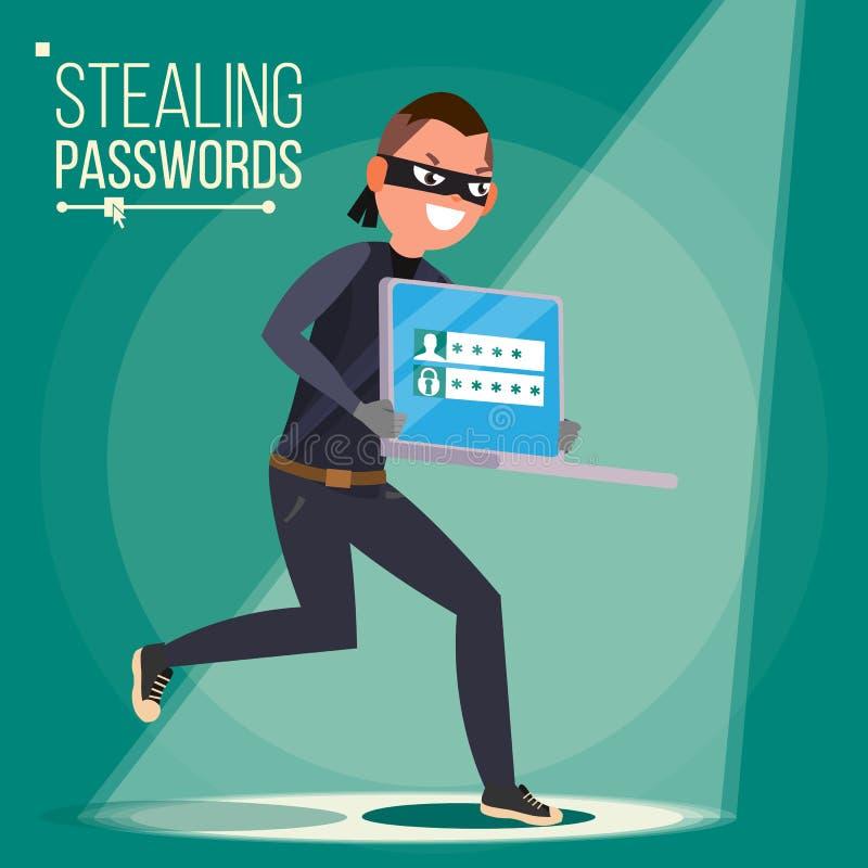 Вектор характера похитителя Хакер крадя уязвимые данные, деньги от компьтер-книжки Рубить код PIN Рубить Social интернета иллюстрация штока