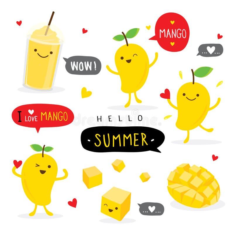 Вектор характера улыбки мультфильма лета плода манго смешной милый стоковое фото