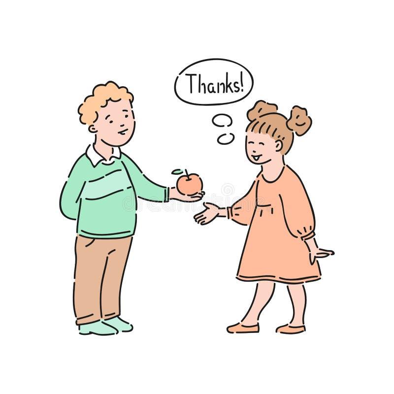 Вектор хорошо поступал девушка для того чтобы возблагодарить вас для  иллюстрация вектора