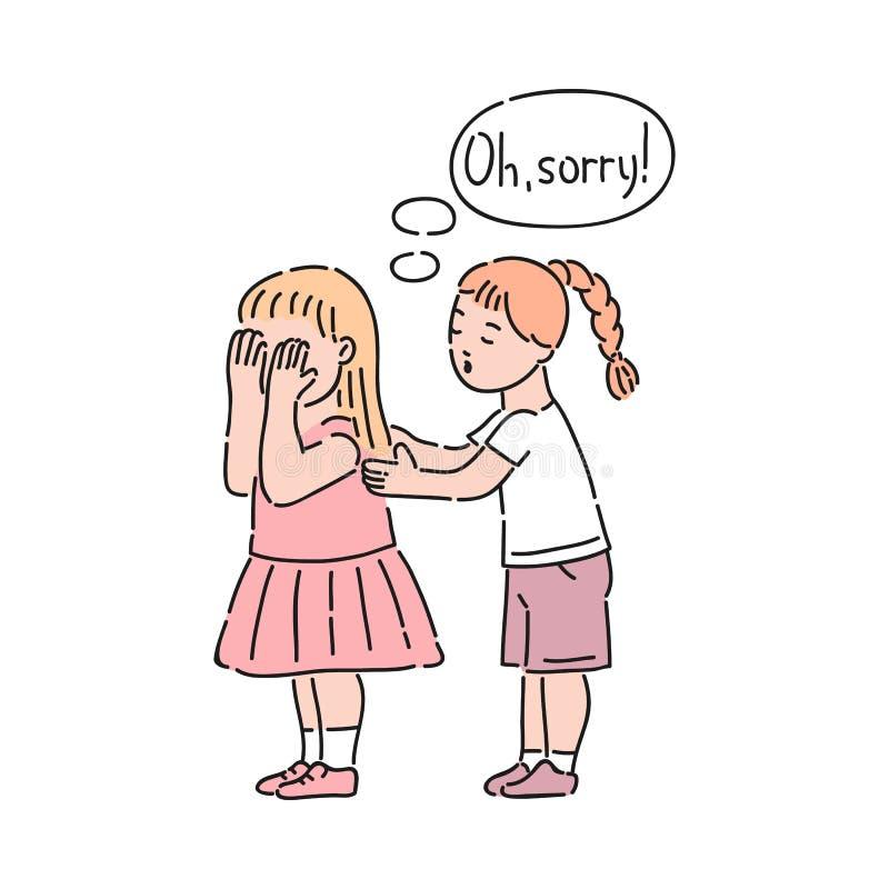 Вектор хорошо поступал девушка утихомиривая вниз плача девушку иллюстрация штока