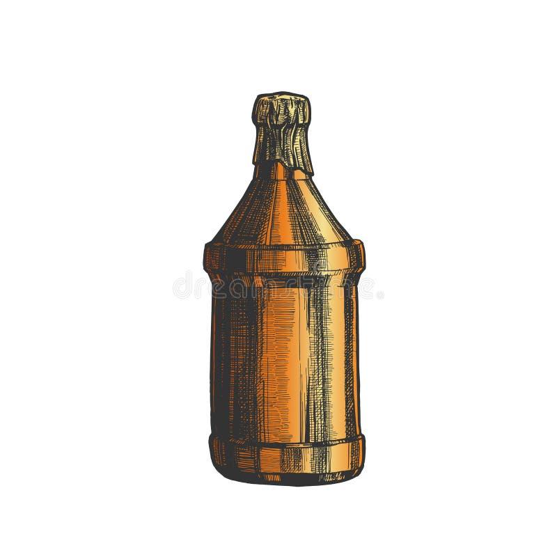 Вектор цвета пивной бутылки руки вычерченный пустой иллюстрация вектора
