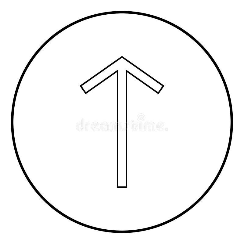 Вектор цвета черноты плана значка символа воина tyr Telwaz rune Teiwaz в изображении стиля круглой иллюстрации круга плоском иллюстрация вектора