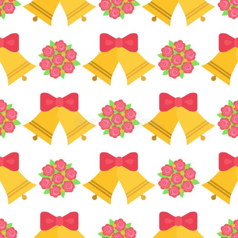Вектор цветения лист чертежа красивой розовой свадьбы влюбленности цветка и природы предпосылки картины колокола безшовной флорис иллюстрация штока